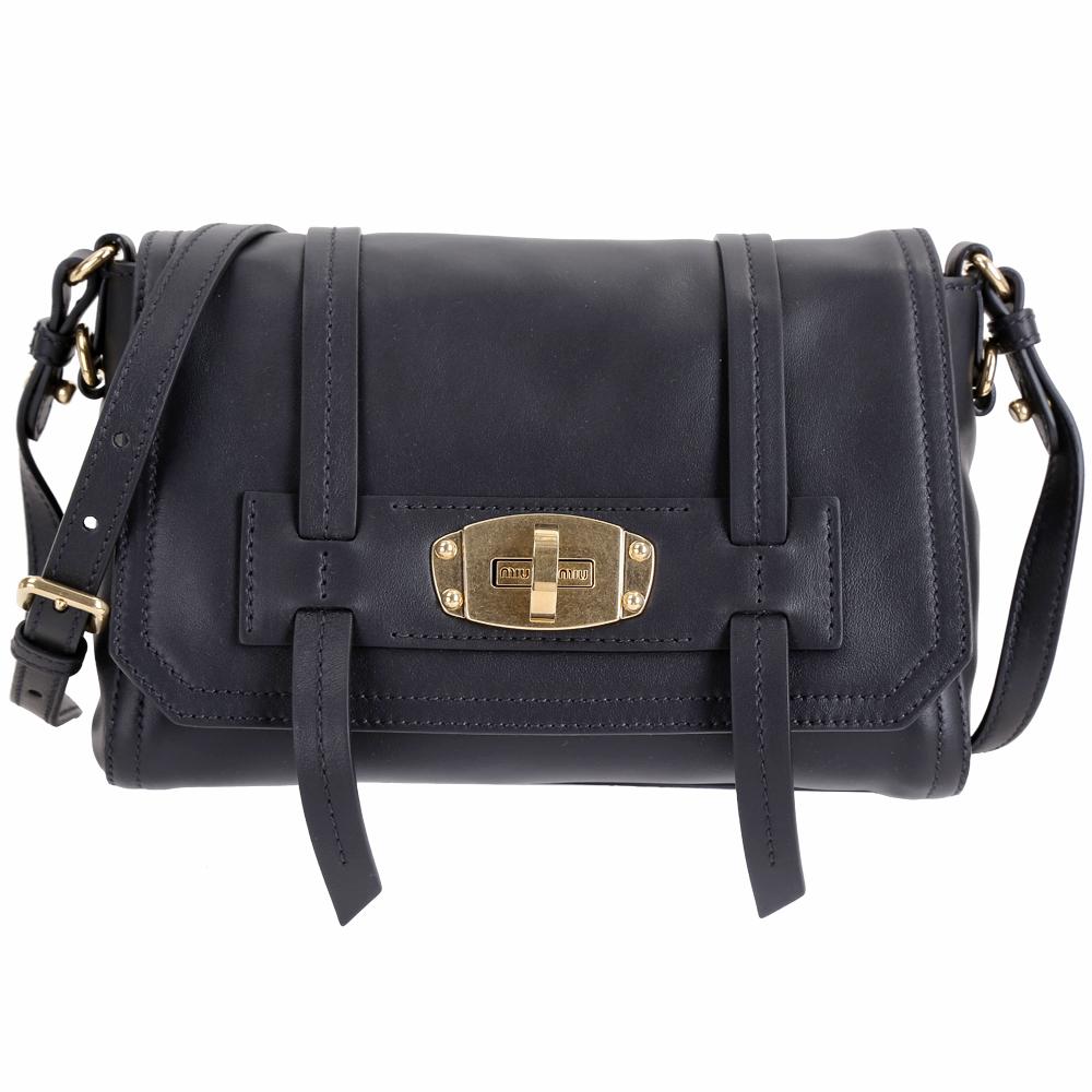 miu miu Grace Lux 小牛皮旋釦肩背包(黑色) @ Y!購物