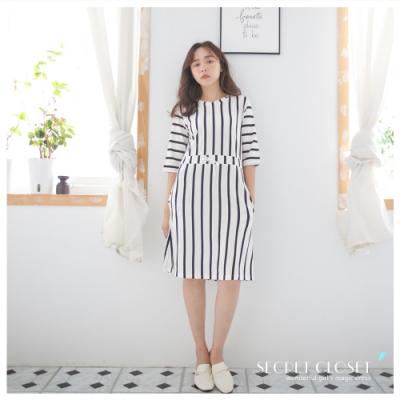 Secret Closet-直條紋收腰顯瘦連身洋裝