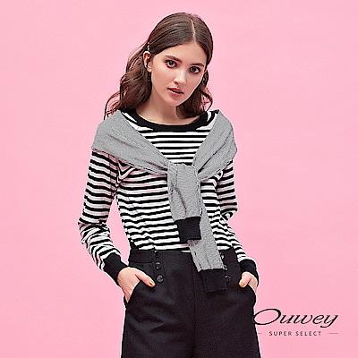 OUWEY歐薇 粗細條紋披肩剪接袖針織上衣(黑)