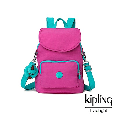 Kipling 糖果色調螢光粉x薄荷綠撞色拉鍊後背包-CARAF