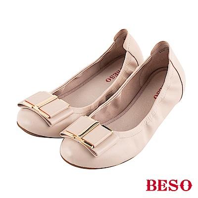 BESO 氣質 蝴蝶結摺疊娃娃鞋~粉