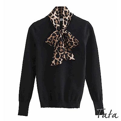 豹紋領結針織上衣 TATA
