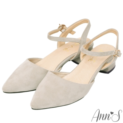 Ann'S砰然約會-夢幻細絨繫帶側V顯瘦粗跟尖頭鞋-灰