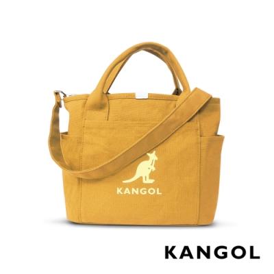 KANGOL 韓版玩色-帆布手提/斜背托特包-鵝黃 AKG1216-10