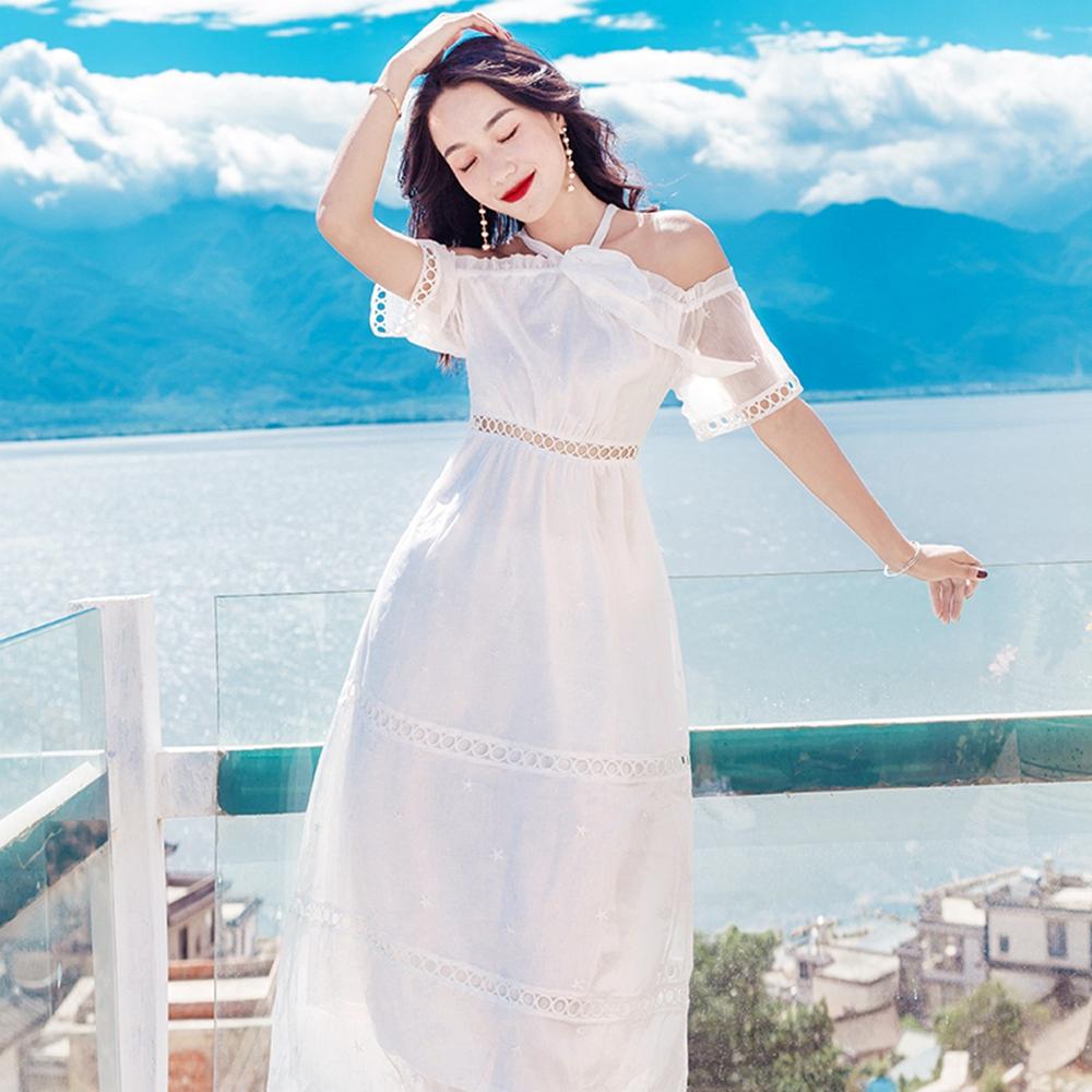性感繞頸綁帶清爽白洋裝S-L維拉森林