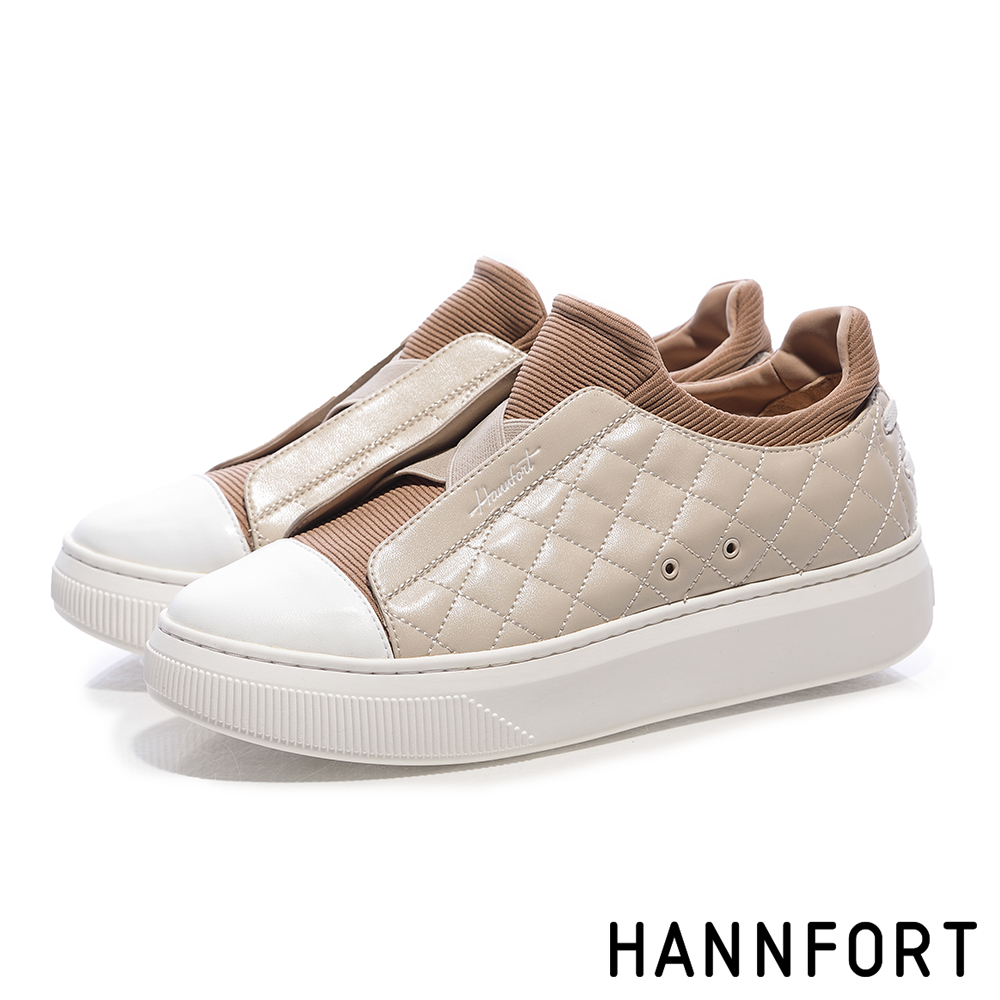 HANNFORT CAMPUS PLATFORM經典菱格增高厚底休閒鞋-女-卡其