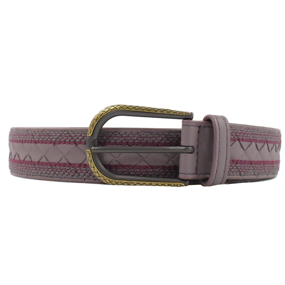 BOTTEGA VENETA編織皮革波希米亞風格裝飾皮帶(粉紫芋)