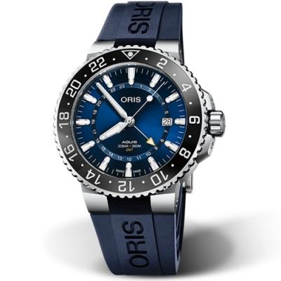 ORIS AQUIS GMT 時間之海 雙時區日期潛水錶-43.5mm藍面/藍膠帶