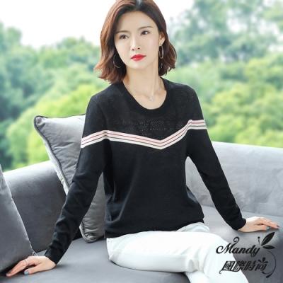 Mandy國際時尚 圓領撞色長袖寬鬆氣質針織毛衣(5色)  【韓國服飾】