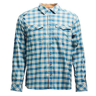 荒野【wildland】男彈性抗UV格子長袖襯衫湖水藍