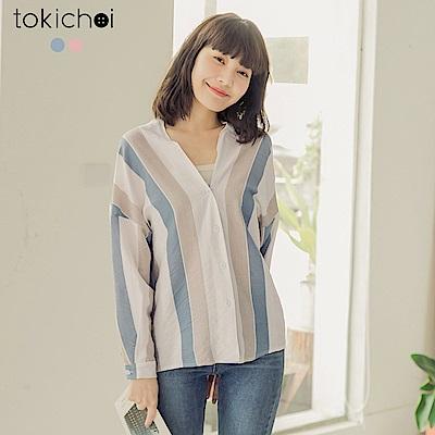 東京著衣-日系無印柔和條紋大V領上衣-(共兩色)