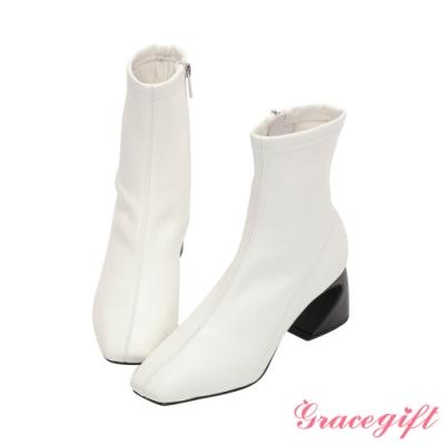 Grace gift X Jessica-聯名方頭車線馬蹄跟短靴 白X黑