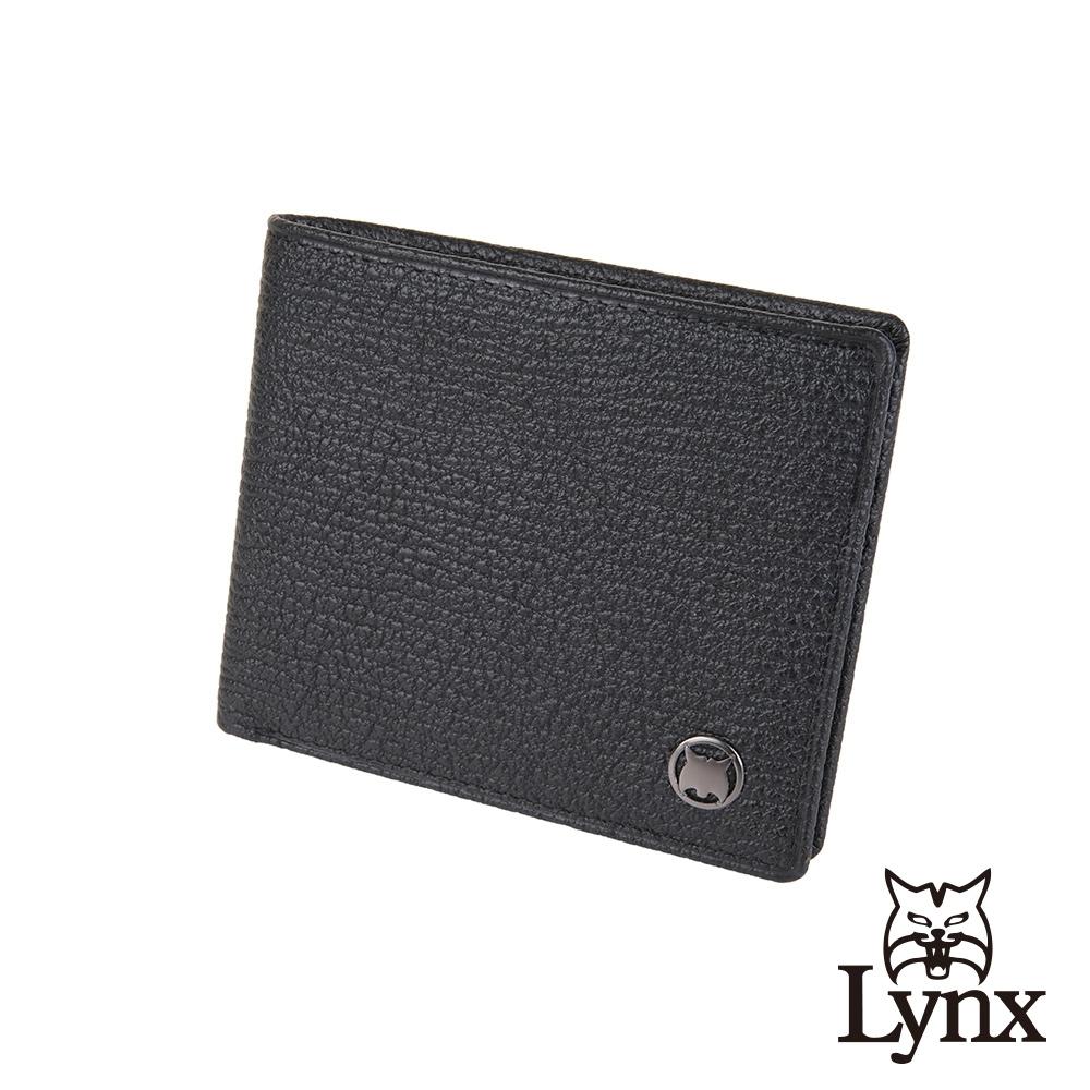 【Lynx】美國山貓大象紋進口牛皮9卡上翻短夾皮夾-黑色 雙鈔/透明窗/小拉鏈袋