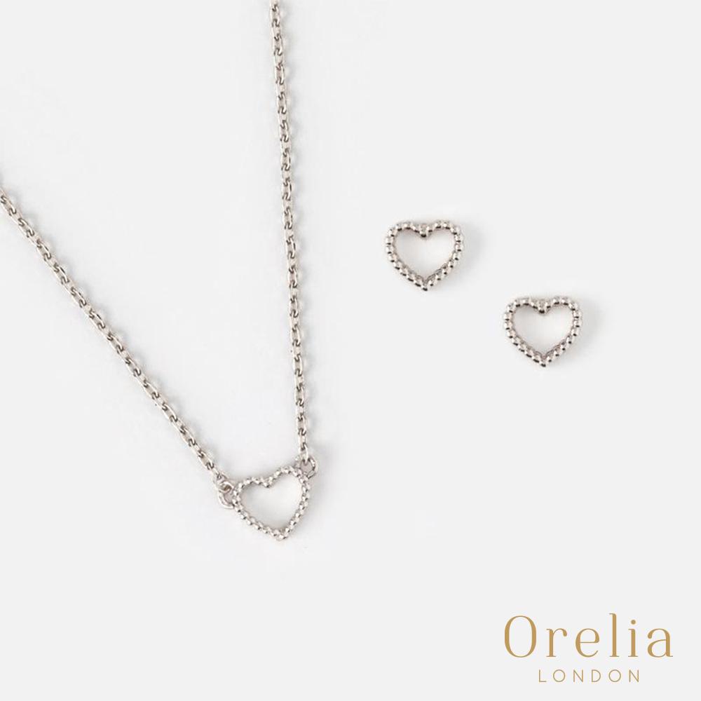 Orelia 英國倫敦 鏤空愛心銀飾項鍊耳環套組