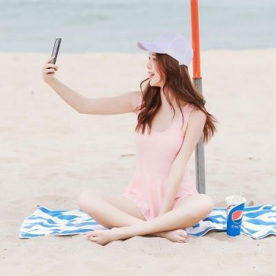 SUPER COLOR 簡約甜美露背小裙襬連身泳裝-淡粉紅