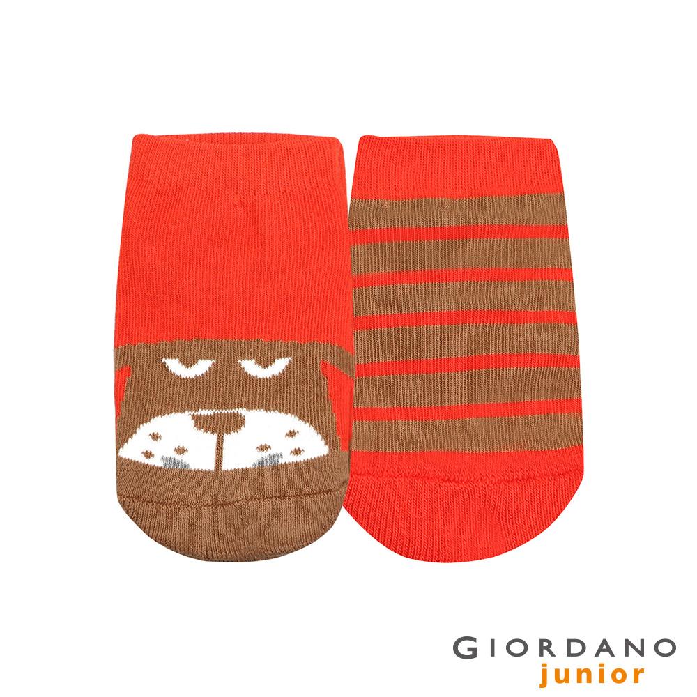 GIORDANO 童裝趣味動物頭像條紋短襪(兩雙入)-13 咖啡/橘子色 @ Y!購物