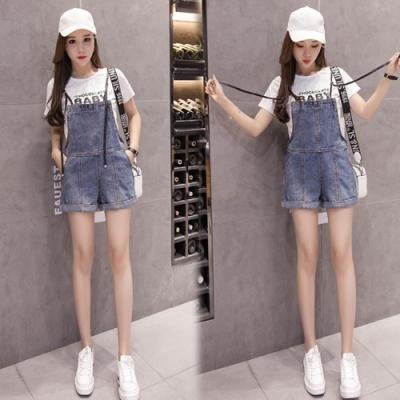 【韓國K.W.】(預購)流行穿搭簡約知性連身牛仔吊帶褲-1色