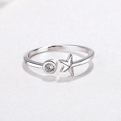 iSFairytale伊飾童話 璀璨海星 亮麗白銀銅鍍30銀開口戒指