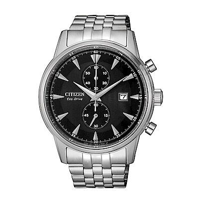 CITIZEN 紳士急速三眼計時光動能腕錶/CA7001-87E