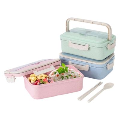 小麥纖維手提式餐具便當盒套組-粉紅色*1