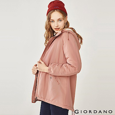 GIORDANO 女裝刷毛鋪棉短版連帽厚外套-27 藕粉色