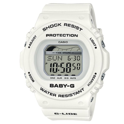 BABY-G 陽光女孩衝浪板電子休閒錶-(BLX-570-7)白/44.9mm