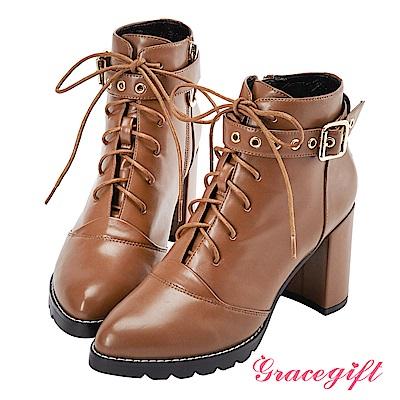Grace gift X Kerina妞妞-多穿式帶釦綁帶短靴 棕