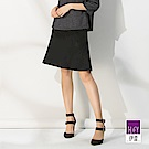 ILEY伊蕾 造型線條羊毛A字裙(黑)