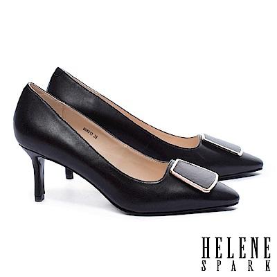 高跟鞋 HELENE SPARK 都市典雅金邊釦尖頭羊皮尖頭高跟鞋-黑