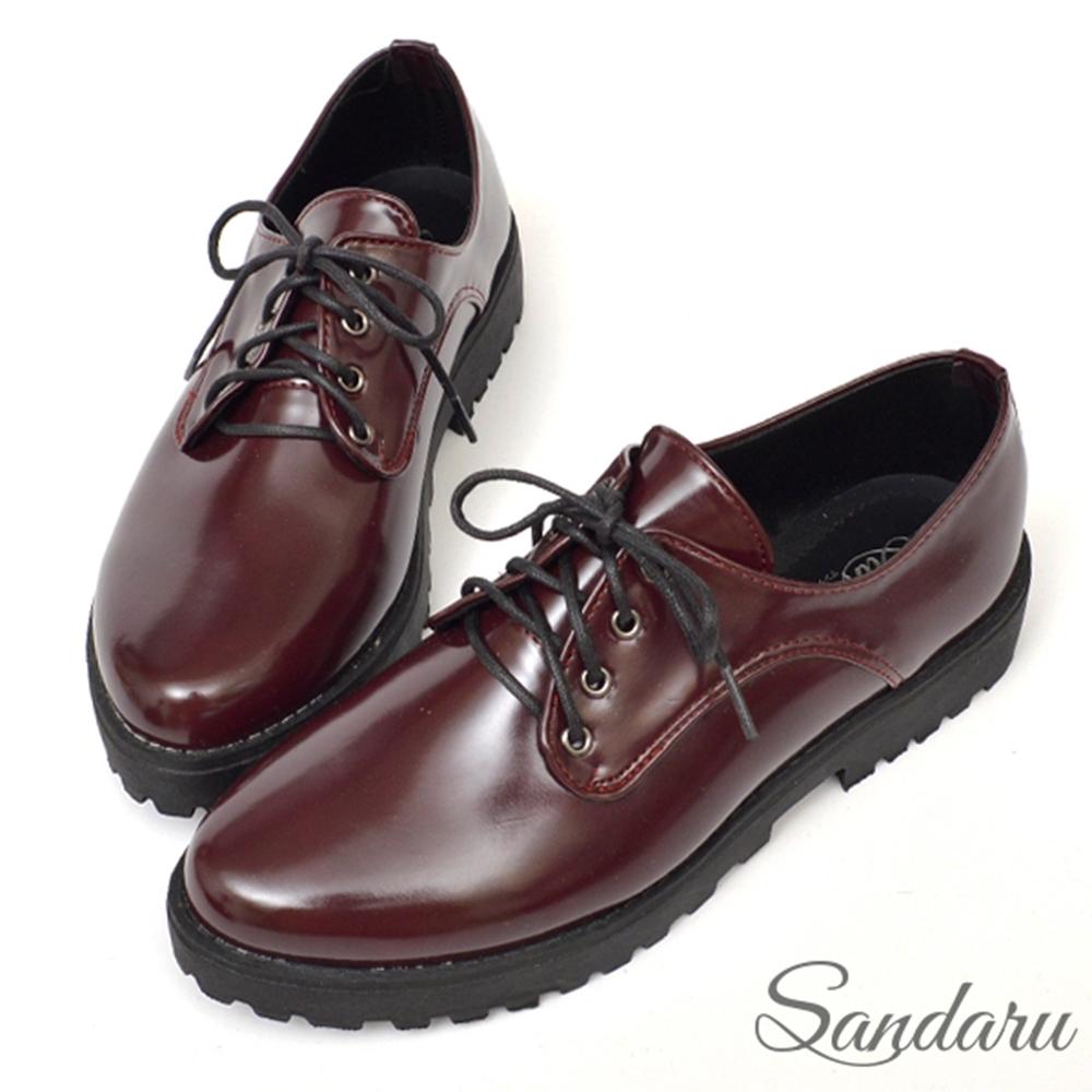 山打努SANDARU-訂製MIT復古質感紳士小皮鞋-紅 (紅)