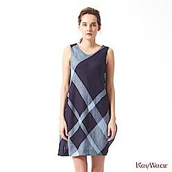 KeyWear奇威名品    100%亞麻內斂典雅無袖洋裝-深藍色