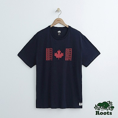 男裝Roots 前胸楓葉短袖T恤-藍