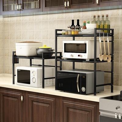 【AOTTO】可伸縮微波爐架 廚房收納架-雙層(廚房置物架 收納架)