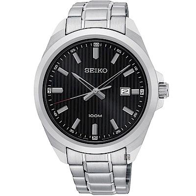 SEIKO 精工 城市時尚石英手錶-黑x銀/42mm