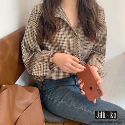 JILLI-KO 韓版復古格子襯衫- 卡其
