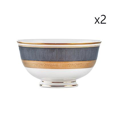 Royal Duke 黃金凱薩高級骨瓷飯碗2入(奢豪金邊點綴)