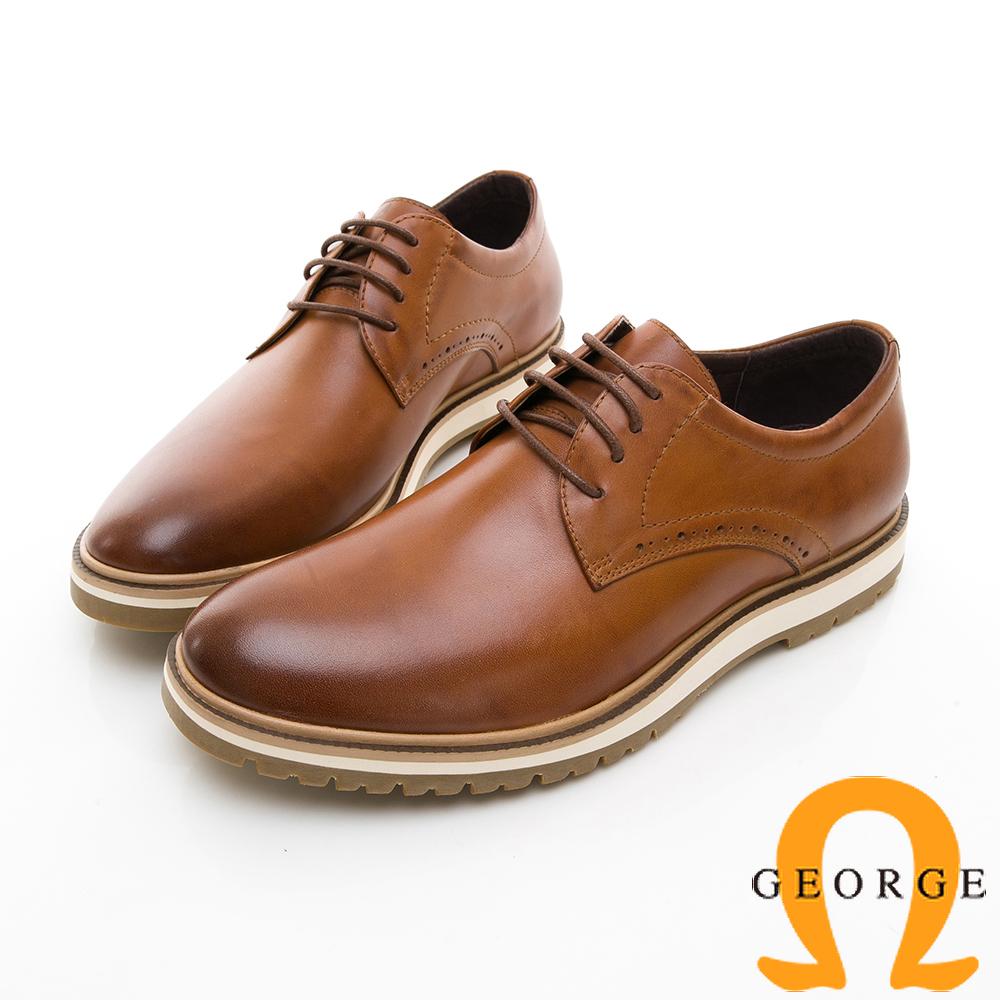 【GEORGE 喬治皮鞋】休閒系列 綁帶柔軟紳士休閒皮鞋-棕色