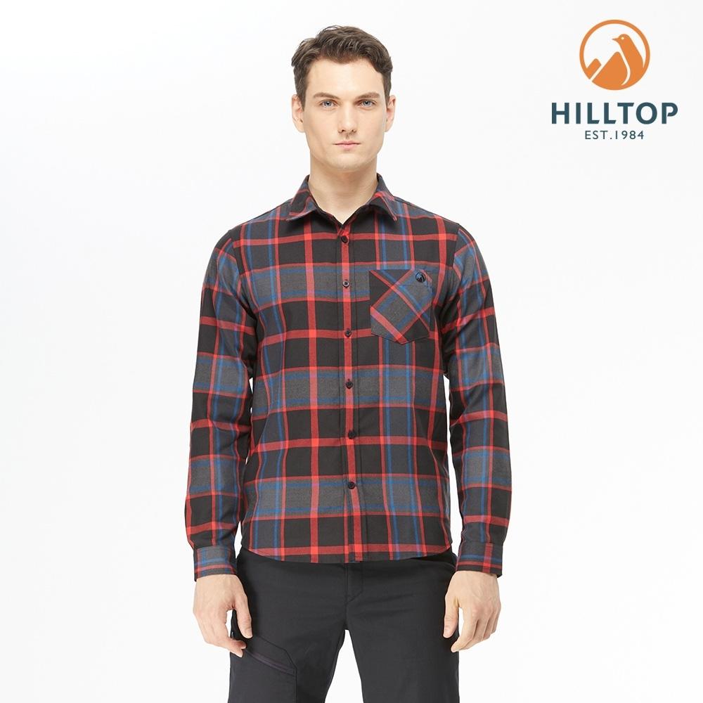 【hilltop山頂鳥】男款ThermoTech保暖吸溼快乾格紋襯衫C05M26黑底紅格