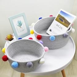 【收納職人】簡約北歐ins風棉線毛球編織裝飾置物籃/收納籃_彩色(大)