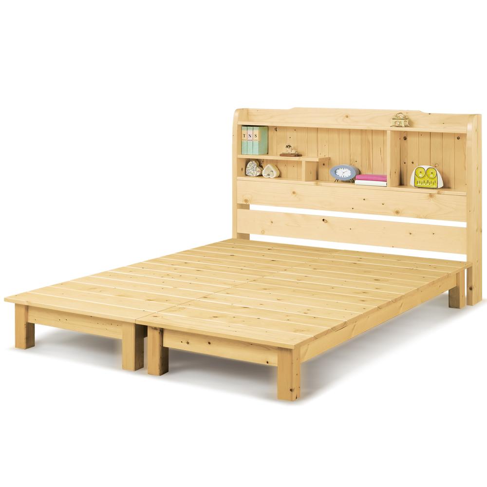 凱曼  珊比松木5尺書架型雙人床(床頭+床底)-2件式 @ Y!購物