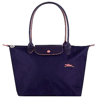 Longchamp Collection尼龍布刺繡品牌長背帶水餃包(紫/小)