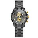 TAYROC 英式風尚計時手錶-灰X金/42mm