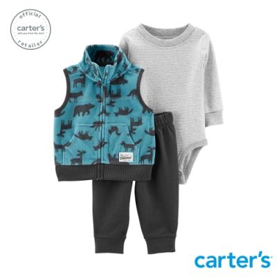 Carter's台灣總代理 森林動物連帽背心3件組套裝