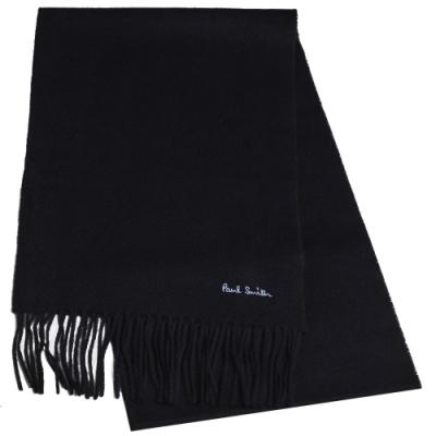 Paul Smith 英國製字母刺繡LOGO100%羊毛造型圍巾(黑)
