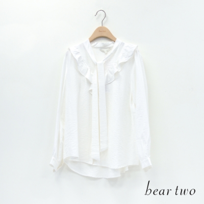 bear two- 素色荷葉領片上衣 - 白