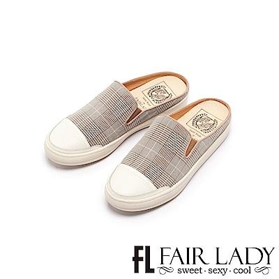Fair Lady SoftPower軟實力千鳥格紋休閒穆勒鞋 布拉格