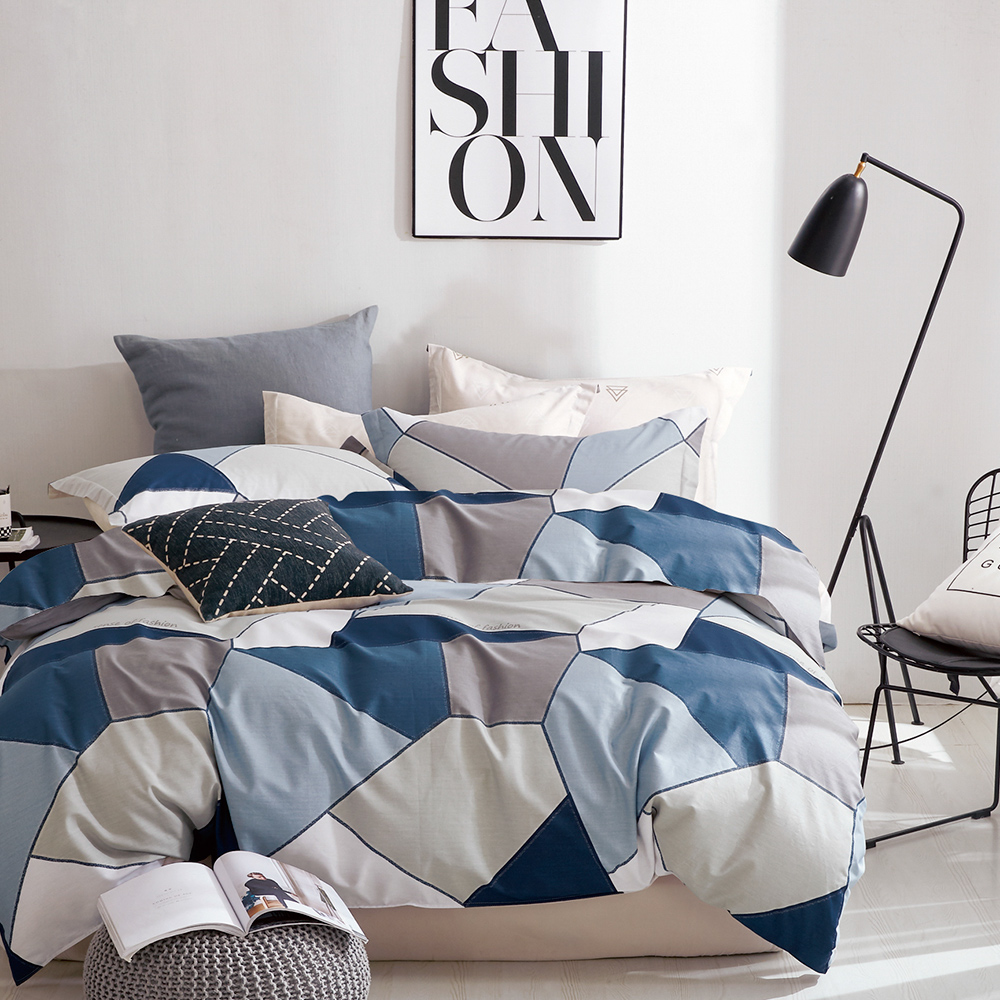 A-one 雪紡棉 雙人床包/枕套 三件組 謎城之旅-藍