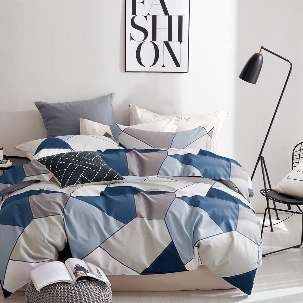 A-one 雪紡棉 雙人加大床包/枕套 三件組 謎城之旅-藍