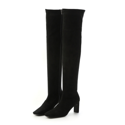 D+AF 美腿神器.顯瘦感扁跟膝上長靴*黑