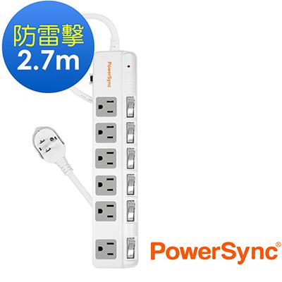 群加 PowerSync 六開六插防雷擊斜面開關延長線2.7m(TPS366BN9027)
